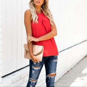 Vici: Summer Solstice Keyhole Tank - Tomato Red